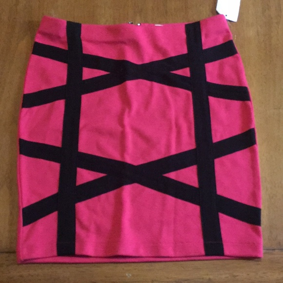 Charlotte Russe Dresses & Skirts - Pink and black stripe skirt